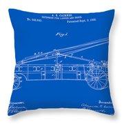 Vintage Firetruck Patent - Blueprint Throw Pillow
