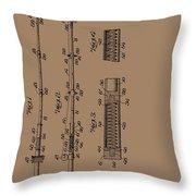 Vintage Fishing Rod Patent 1942 Throw Pillow