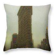 Vintage Flatiron In Winter Throw Pillow