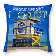 Vintage Florida Travel Style Artwork Throw Pillow