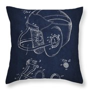 Vintage Football Helment Patent Drawing From 1935 Throw Pillow by Aged Pixel