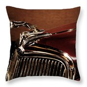 Vintage Ford Hood Ornament Throw Pillow
