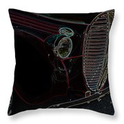 Vintage Ford Neon Art Grill Throw Pillow