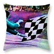 Vintage Formula 1 Race Checkered Flag  Throw Pillow