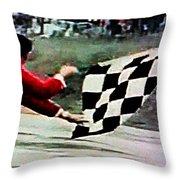Vintage Formula Race Checkered Flag Throw Pillow