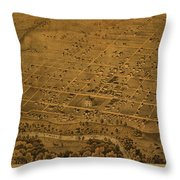 Vintage Fort Worth Texas In 1876 City Map On Worn Canvas Throw Pillow by Design Turnpike
