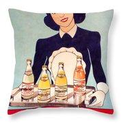 Vintage French Tin Sign Primerose Throw Pillow