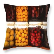 Vintage Fruit And Vegetable Preserves II Throw Pillow