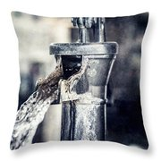 Vintage Ft. Worth Stockyards Water Pump Throw Pillow