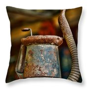 Vintage Garage Oil Can Throw Pillow