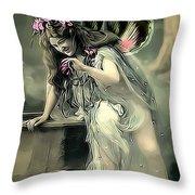 Vintage Garden Nymph Throw Pillow