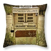 Vintage Gas Pump At An Abandoned Filling Station Throw Pillow