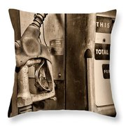 Vintage Gas Pump Showing Its Age Throw Pillow