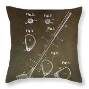 Vintage Golf Club Patent Throw Pillow