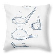 Vintage Golf Club Patent Drawing From 1926 - Blue Ink Throw Pillow