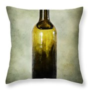 Vintage Green Glass Bottle Throw Pillow