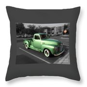 Vintage Green Chevy 3100 Truck Throw Pillow