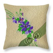 Vintage Greeting. Bouquet Of Purple Spray Flowers With Green Ribbon.  Throw Pillow