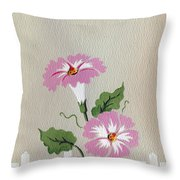 Vintage Greeting. Happy Flowers Along The Fence  Throw Pillow