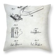 Vintage Hair Clippers Patent Throw Pillow