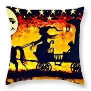 Vintage Halloween Scene Throw Pillow
