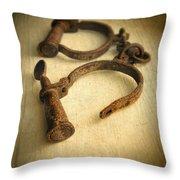 Vintage Handcuffs Throw Pillow