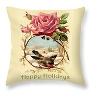 Vintage Happy Holidays Throw Pillow