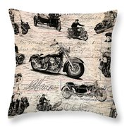 Vintage Harley Davidson Poster Throw Pillow