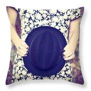 Vintage Hat Flower Dress Woman Throw Pillow