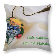 Vintage Hawaiian Christmas Bulb Throw Pillow