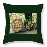Antique Store Hay Rake And Bicycle Throw Pillow