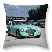 Vintage Healey In Starting Grid Throw Pillow