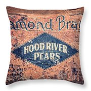 Vintage Hood River Pear Crate Throw Pillow