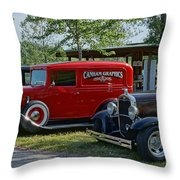 Vintage Hot Rods Throw Pillow