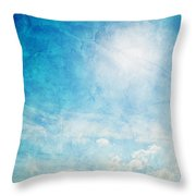 Vintage Image Of Sunny Blue Sky Throw Pillow