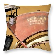 Vintage Indian Bike Throw Pillow