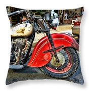 Vintage Indian Motorcycle - Live To Ride Throw Pillow