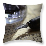 Vintage Ink Pen Throw Pillow