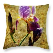 Vintage Iris Throw Pillow