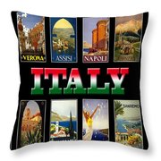Vintage Italy Travel Posters Throw Pillow