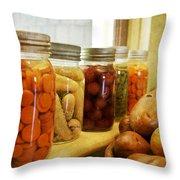 Vintage Jars On A Kitchen Window Throw Pillow