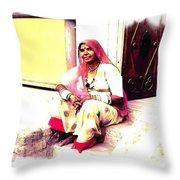 Vintage Just Sitting 2 - Woman Portrait - Indian Village Rajasthani Throw Pillow