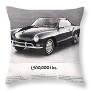 Vintage Karmann Ghia Advert Throw Pillow