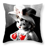 Vintage Lady Head Vase - Black And White With Red Throw Pillow