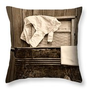 Vintage Laundry Room In Sepia	 Throw Pillow