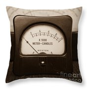 Vintage Light Meter Throw Pillow by Edward Fielding