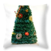 Vintage Lighted Christmas Tree Decoration Throw Pillow