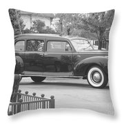 Vintage Lincoln Limo Black N White Throw Pillow