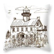 Vintage Lines Of East Point Lighthouse Throw Pillow