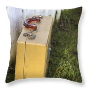 Vintage Luggage Left By A White Picket Fence Throw Pillow